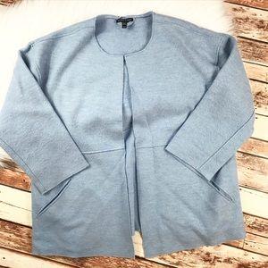 Eileen fisher baby blue wool open front cardigan